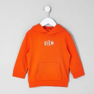 River Island Mini boys orange 'carpe diem' pique hoodie
