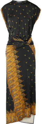 Paco Rabanne Gathered Printed Jersey Midi Dress - Black