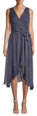 Karl Lagerfeld Paris Sleeveless Polka Dot High-Low Dress