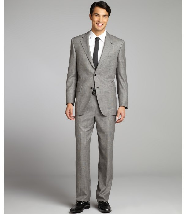 Hickey Freeman grey glen plaid super 100's worsted wool two-button suit with flat front pants