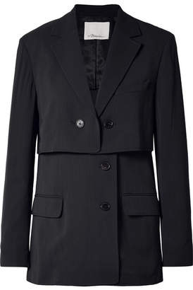 3.1 Phillip Lim Oversized Layered Pinstriped Twill Blazer - Midnight blue