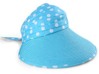 AERUSI Women's and Girl's Polka Dot Straw Visor Wide Brim Hat