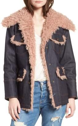AVEC LES FILLES Denim & Faux Shearling Trucker Jacket