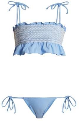 Lisa Marie Fernandez Selena Smocked Bikini - Womens - Blue