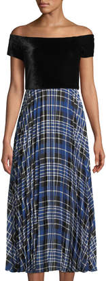 Donna Morgan Off-the-Shoulder Velvet Bodice Plaid Midi Dress