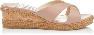 Jimmy Choo ALMER 50 Ballet Pink Nappa Leather Sandal Mules with Braid Trim Wedge