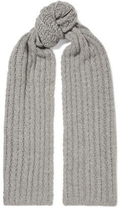 Portolano Cable-knit Cashmere Scarf - Light gray