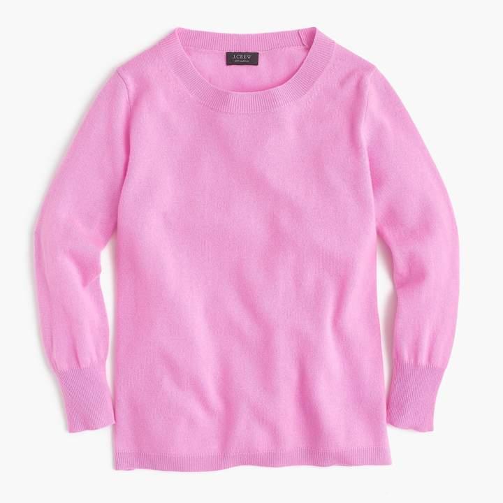 Three-quarter sleeve everyday cashmere crewneck sweater
