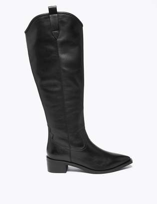 Marks and Spencer Leather Western Knee High Boots