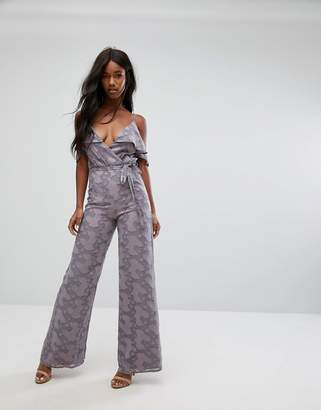 Oh My Love Wide Leg Jumpsuit With Frill Trim