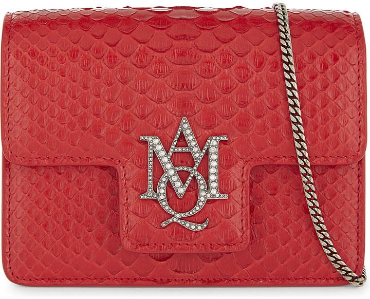 Alexander McQueenAlexander Mcqueen AMQ insignia snake-skin cross-body bag