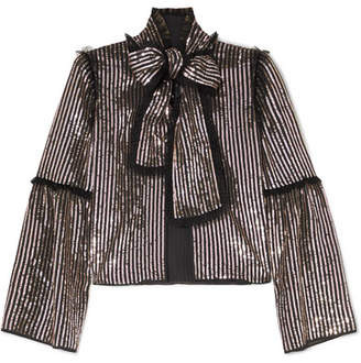 Needle & Thread Pussy-bow Sequined Georgette Jacket