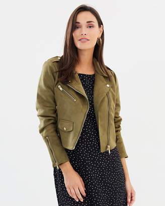 Only Sherry Cropped Bonded Biker Jacket