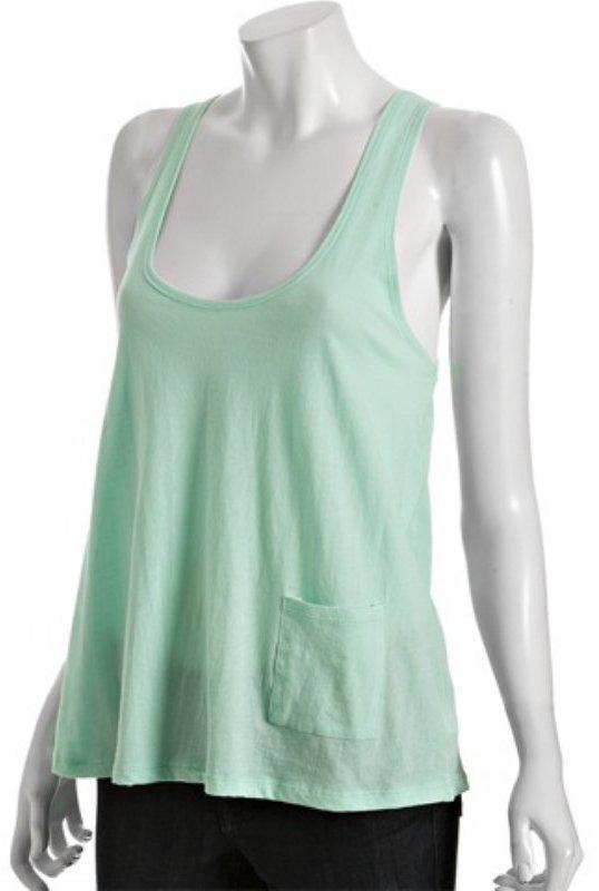 LnA mint cotton jersey side pocket tank