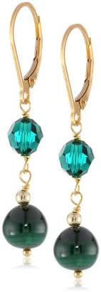 Swarovski Gold-Plated Sterling Silver Malachite and Elements Drop Earrings