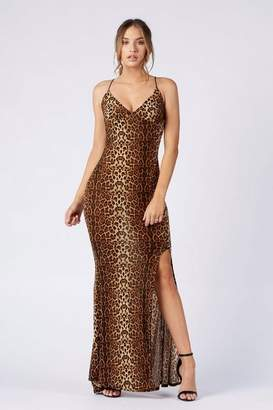 Club L **Thigh Split Leopard Print Cami Dress