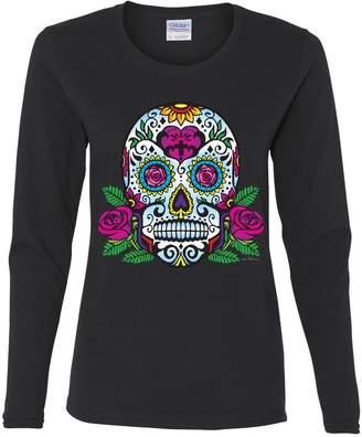 DAY Birger et Mikkelsen Tee Hunt Sugar Skull with Roses of The Dead Long Sleeve T-Shirt Calavera 3XL