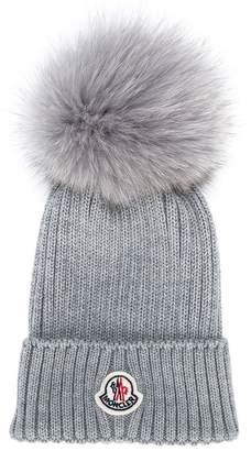Moncler fox fur pompom beanie hat