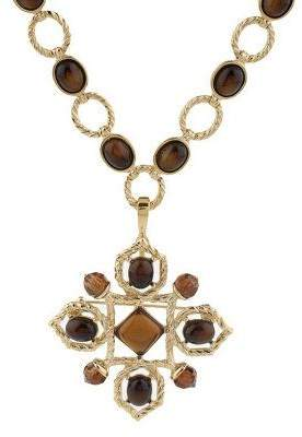 Rachel Zoe Luxe Cabochon Link Necklace with Pin/Enhancer