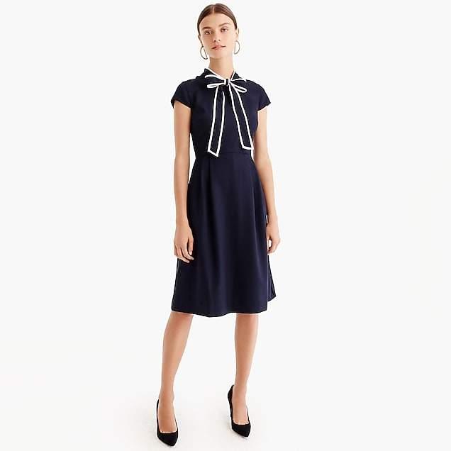Tie-neck dress in Italian wool crepe