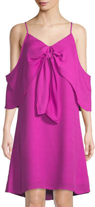 Catherine Malandrino Cold-Shoulder Knot-Front A-line Dress