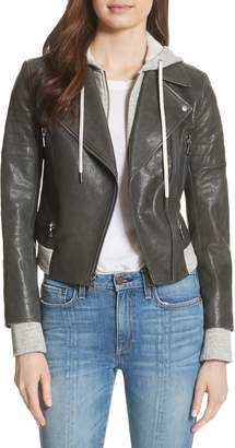 Alice + Olivia Avril Hooded Combo Leather Jacket