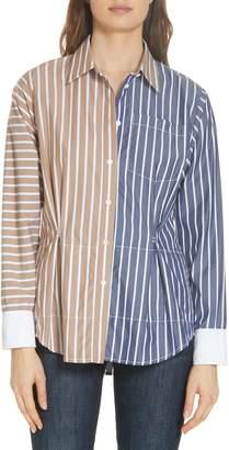 Derek Lam 10 Crosby Colorblock Stripe Shirt