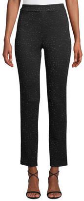 St. John Blister Knit Metallic-Jacquard Cropped Pants
