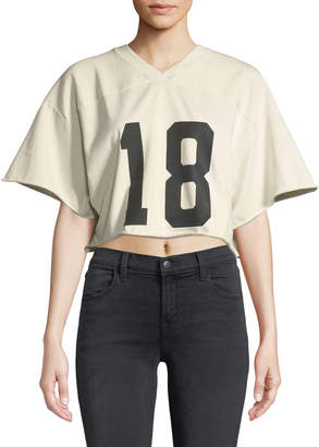 KENDALL + KYLIE Cropped V-Neck Sporty Crop Tee