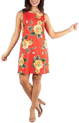 24/7 Comfort Apparel 24/7 Comfort Dresses Floral Sleeveless Shift Dress