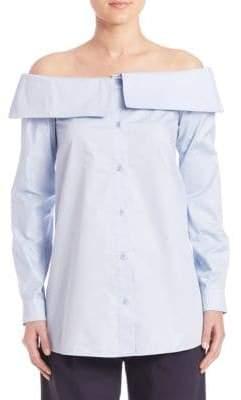 Tibi Satin Poplin Off-the-Shoulder Shirt