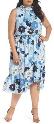 Vince Camuto Floral Ruffle Neck Blouson Midi Dress