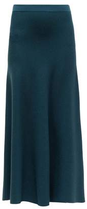 Gabriela Hearst Freddie Wool Blend Midi Skirt - Womens - Green