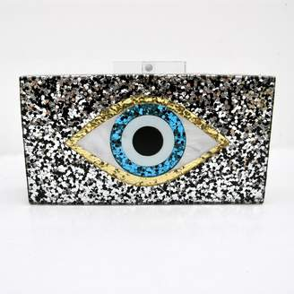 Annie Diamantidis Sequin Evil Eye Clutch
