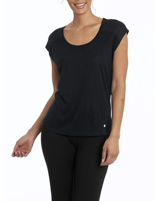 Bally Total Fitness Women's Active Celeste T-Shirt With Draped Key-Hole Back