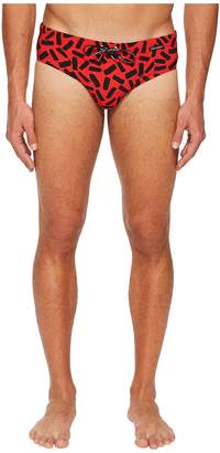 Dolce & Gabbana Abstract Swim Brief w/ Bag Men's Swimwear