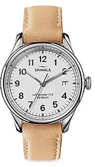 Shinola Vinton Stainless Steel& Leather Strap Watch