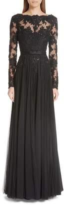 Badgley Mischka Platinum Beaded Silk A-Line Gown