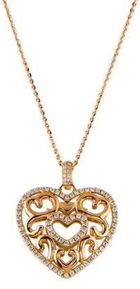 Diamond Filigree Heart Pendant Necklace