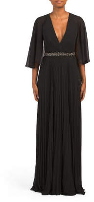 Cape Gown With Beaded Waist