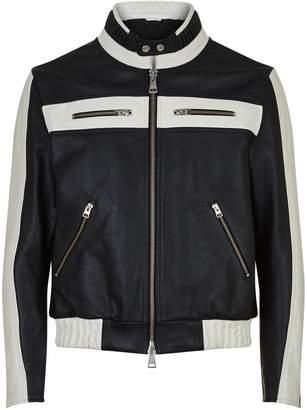 Ami Paris Leather Bomber Jacket