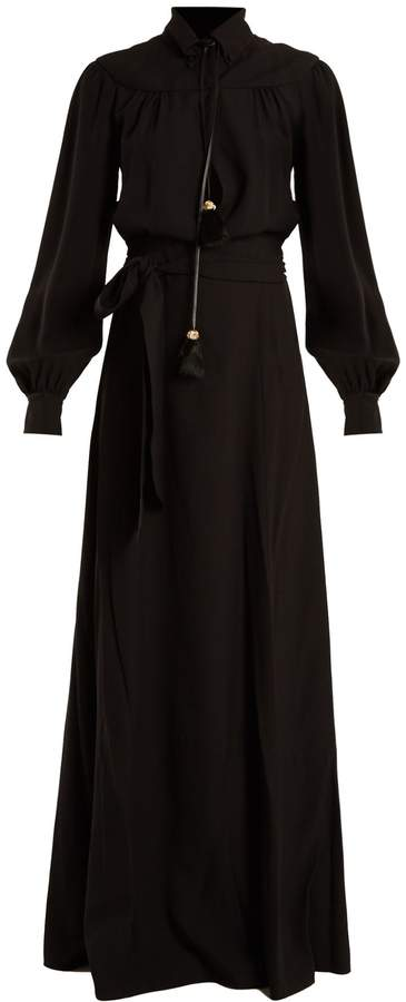 PRADA Long-sleeved waist-tie crepe gown