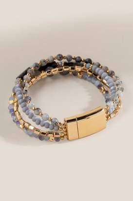 francesca's Beth Semi Precious Bracelet - Gray