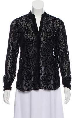 Alice + Olivia Velvet Long Sleeve blouse