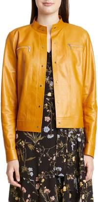Lafayette 148 New York Galicia Glazed Lambskin Leather Jacket
