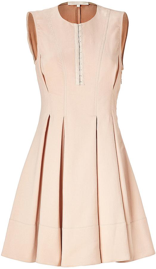 Vanessa Bruno Blush Cotton-Linen Pleated Dress