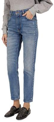 The Kooples Studded Straight Jeans in Blue Denim