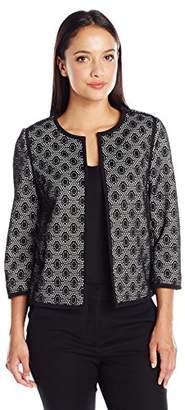 Kasper Women's Petite Size Solid Framed Lace Fly Away Jacket