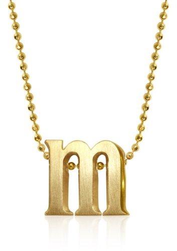"""Alex Woo """"Little Letters"""" 14K Yellow Gold """"M"""" Pendant Necklace"""