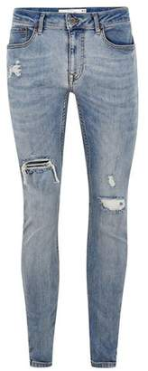 Topman Mens Blue Light Wash Ripped Spray On Jeans